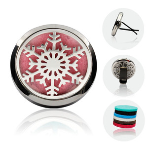 Drop Shipping Snowflake Design Silver Aromatherapy 38mm Car Diffuser Locket Silver Stainless Steel Car Diffuser Locket(China)