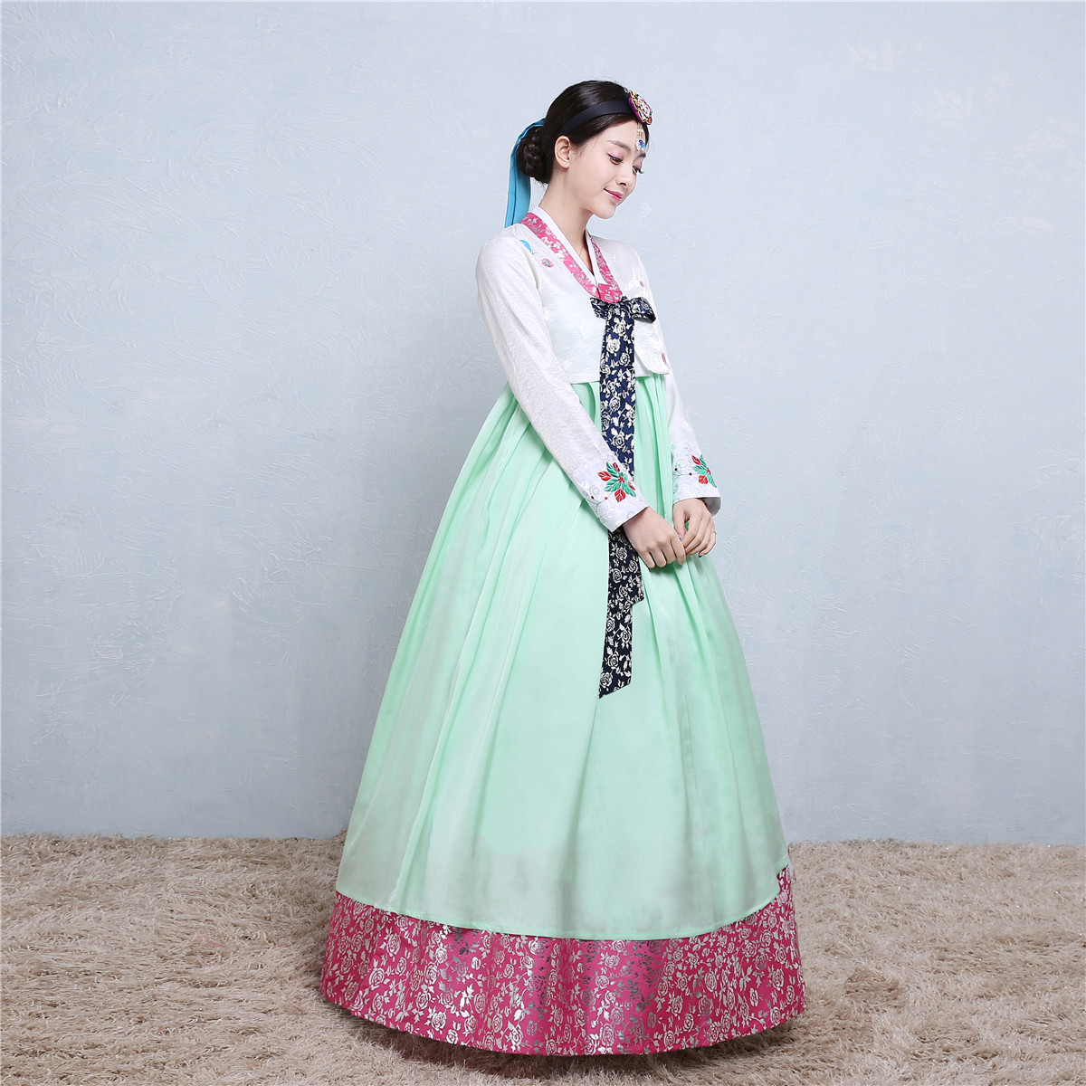 new embroidered hanbok traditional korean clothing long