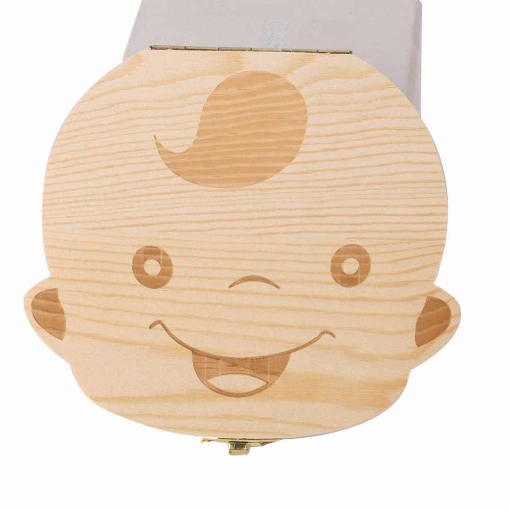 Испанская/английская деревянная коробочка для молочных зубов Органайзер молочный зуб ящик для хранения для мальчика Девочка сохранить зубы пупочной шнур