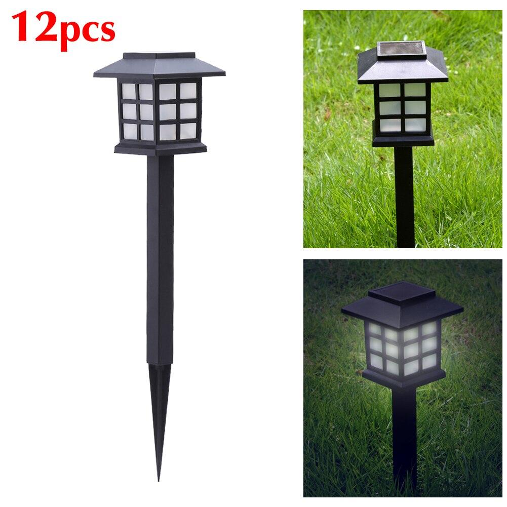 12 PC LOT Black Solar Power LED Outdoor Path Light Yard Garden Lawn Landscape Spot Lamp