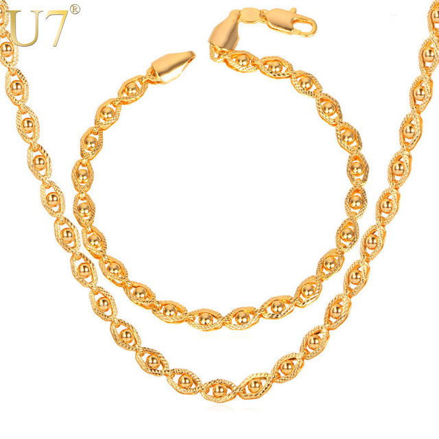 U7 Bracelet And Necklace Set Rose Gold Color Bead Chains Jewelry Set