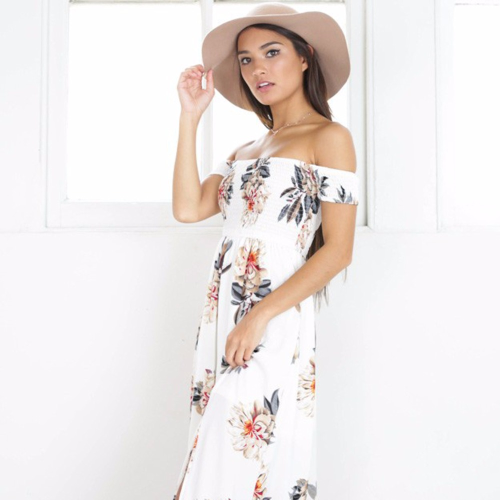 09ca13534d10 Bohemian style long dress women Off shoulder beach summer dresses Floral  print Vintage chiffon white maxi dress vestidos mujer