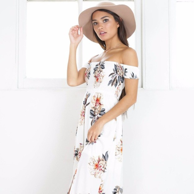 ba5718eefebed US $11.42 12% OFF|Bohemian style long dress women Off shoulder beach summer  dresses Floral print Vintage chiffon white maxi dress vestidos mujer-in ...