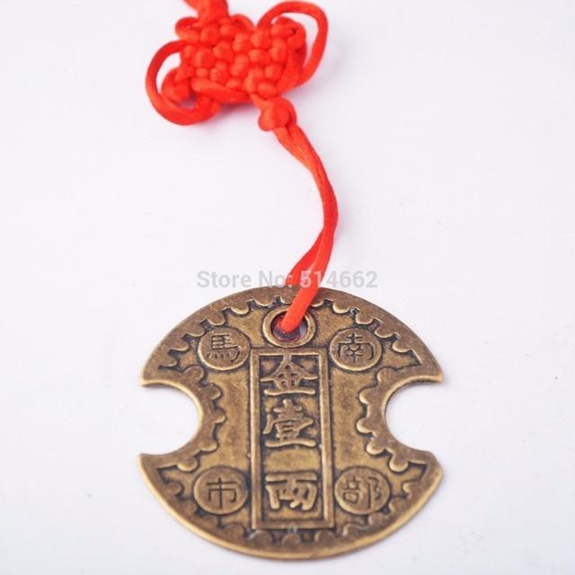 Chinesische Antike Glück Feng Shui Messing Münze Für Auto Hängen