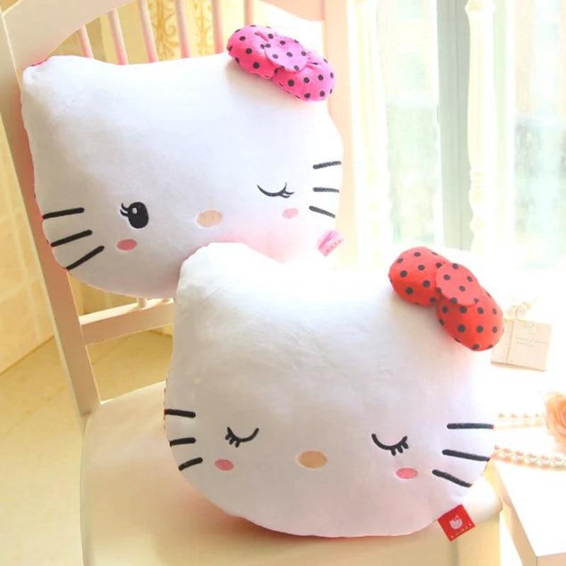 High Quality Lovely Hello Kitty Pillow Soft Stuffed Plush Dot Hello Kitty Cushion 2 Designs 2 Colors Girls Gifts 38cm zak designs стакан dot dot фуксия