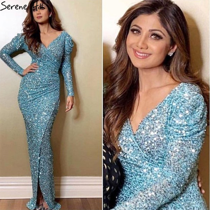 Dubai Luxury Sequined Long Sleeves Evening Dresses 2019 Silver V-Neck Sparkle Sexy Evening Gowns Serene Hill LA60838