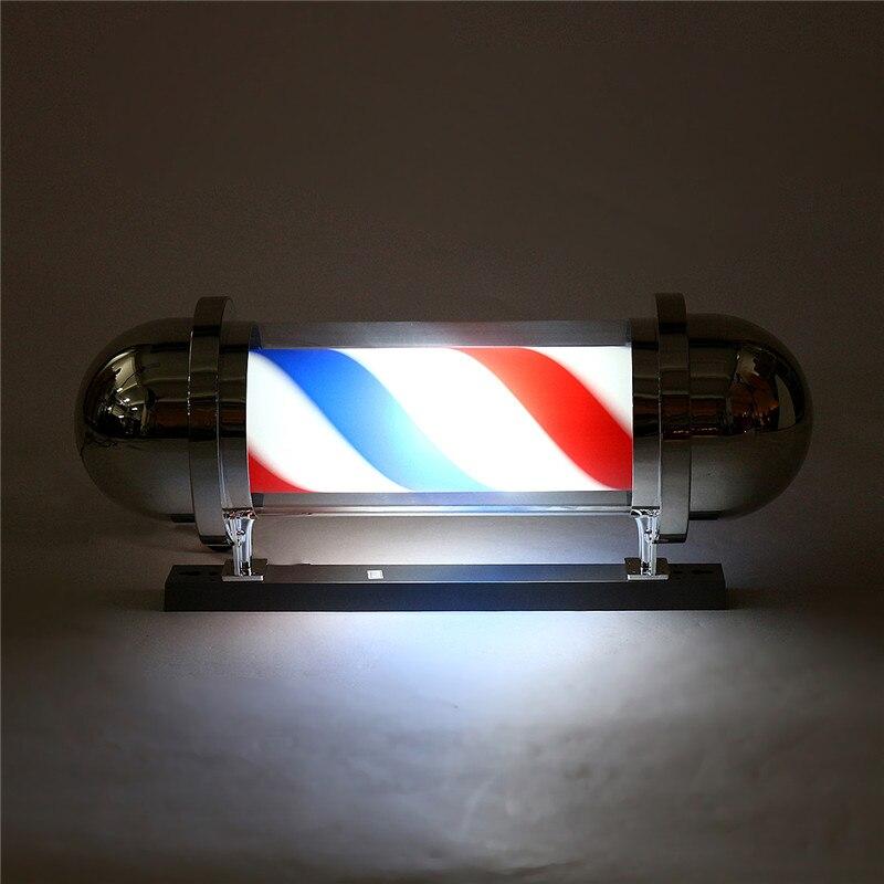 60/75cm pôle de barbier éclairage rotatif équipement de Salon de beauté Salon de coiffure signe tenture murale LED Downlights rouge blanc bleu rayure - 5