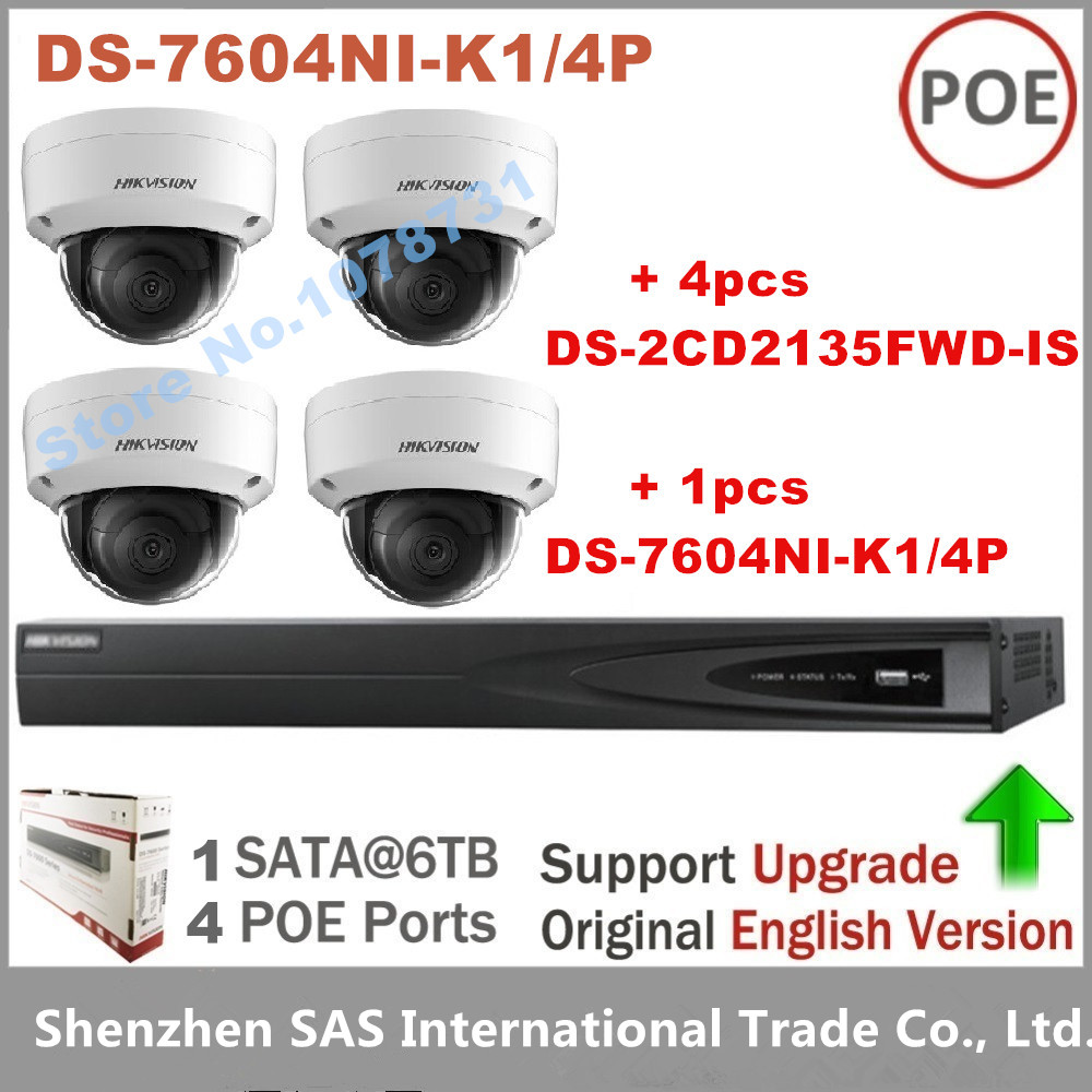 4pcs Hikvision H.265 IP Camera DS-2CD2135FWD-IS 3MP Network Dome Camera + Hikvision DS-7604NI-K1/4P Embedded Plug & Play 4K NVR 4pcs hikvision surveillance camera ds 2cd2155fwd i 5mp dome h 265 ip camera hikvision ds 7604ni k1 4p 4ch 4poe 4k nvr one sata