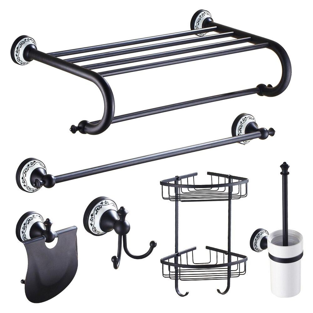 Brass bathroom accessories sets - Wall Mounted 6pcs Bathroom Accessory Set Bath Towel Shelf Bar Hooks Brass Storage Holder Toilet Brush