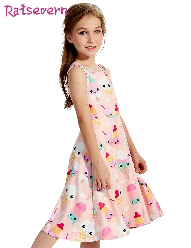 ae7b1ac71c73 Ice Cream Summer Dress Baby Girls Kawaii Pink Princess Dresses Kids Girls  Food Cartoon Printed Sleeveless Teenagers Party Dress-in Dresses from Mother  ...