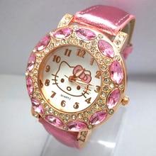 venta de vacaciones de alta calidad de cuero Hello Kitty reloj niños mujeres vestido de moda cristal reloj de pulsera 1072