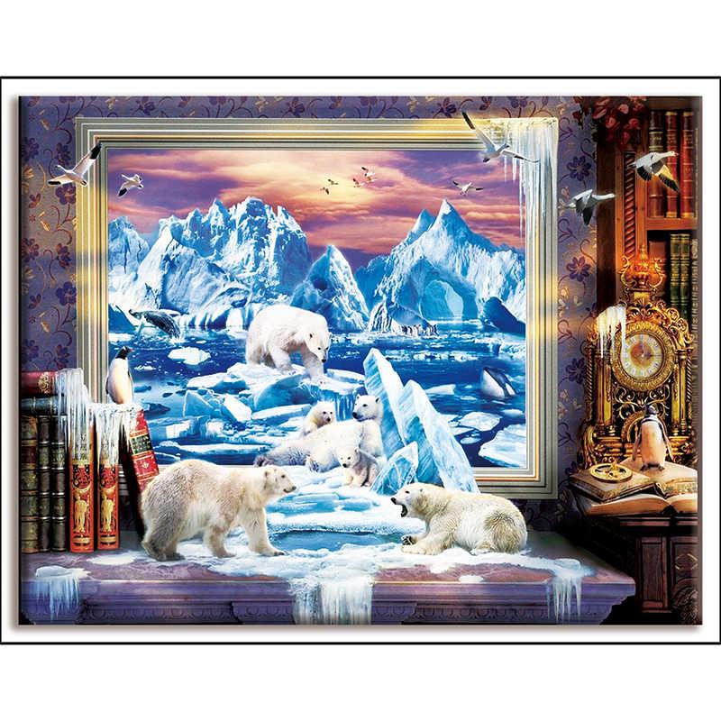 Dmc, תפר צולב, מופשט ציור, דוב, קרחון, Diy, רקמה, ערכות, לבן בד 40x50cm, חוט כותנה, סטי עבור מלא רקמה