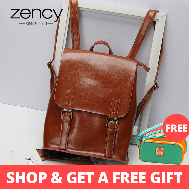 Zency 100% Genuine Leather Women Backpack Fashion Brown Daily Holiday Knapsack Notebook Schoolbag For Girls Travel Bag BlackZency 100% Genuine Leather Women Backpack Fashion Brown Daily Holiday Knapsack Notebook Schoolbag For Girls Travel Bag Black