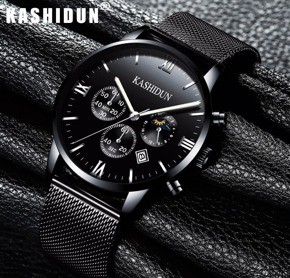 relogio masculino KASHIDUN Men Watches Top Brand Luxury Fashion Business Quartz Watch Men Sport Full Black Waterproof Wristwatch