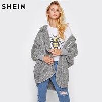 SHEIN Wide Cuff Hooded Dolman Sleeve Fluffy Coat Autumn Winter Womens Coats Grey Batwing Sleeve Casual