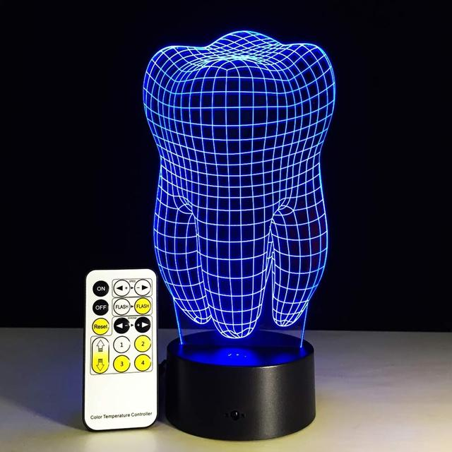 Tooth Shape 3D Illusion LED Night Light