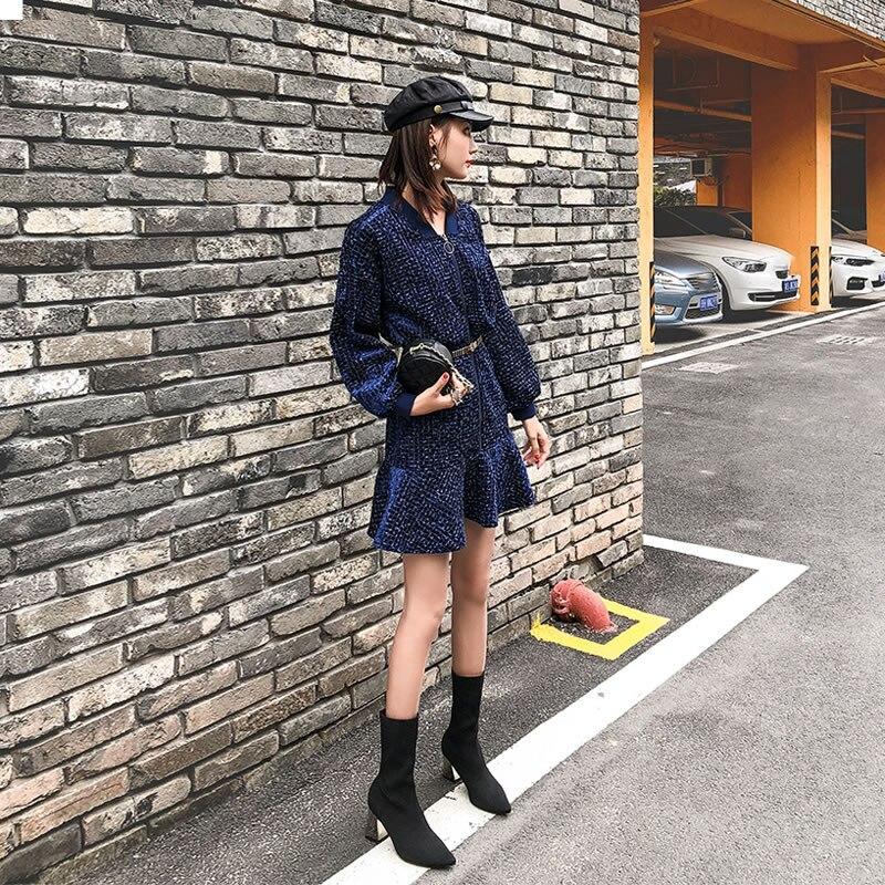 dessus Mode Pleine Manches Couleur Corée Casual Solide Printemps hg Nouveau Robe Dll2343 2019 Femme Genou Blue Ruches Été V cou Du wzBgqZI