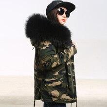 Плюс размер 2016 Новая армия зеленый Камуфляж зимняя куртка женщины толстые парки большой енота натуральный мех воротник пальто с капюшоном