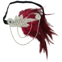 1PC Stylish Vintage Ethnic Girls Women Fascinator Headband Hair Band With Feather Rhinestone Decor Hair Accessory