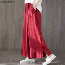 цены Chinese Style Vintage Knot Buttons Decorated Side Slit Wide Leg Pants Women Literary Casual Loose Linen Pants Ladies palazzo