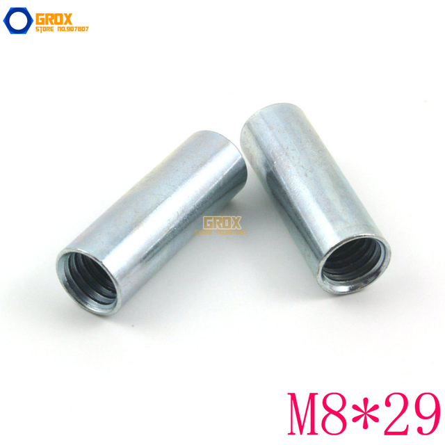 30 Pieces M8*29mm Round Rod Coupling Nut Galvanized