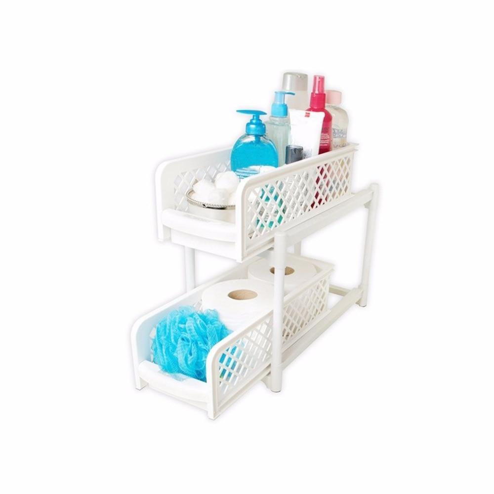 Plastic Kitchen Shelf: 2 Layers Design Practical Bathroom Storage Shelf Rack