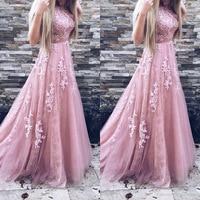 BKLD Women Evening Party Dress 2018 Sleeveless O neck Sexy Long Dress Women Elegant Pink Lace Dress Summer Maxi Dress S 2XL