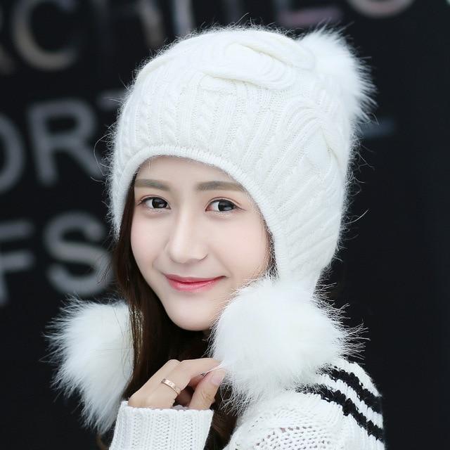 bf972cca Women Winter Cute Knitted Beanie Hat Woolen Faux Fur Thick Ball Pom Poms  Earflap Crochet Warm Soft Fashion Outdoor Hats Gifts