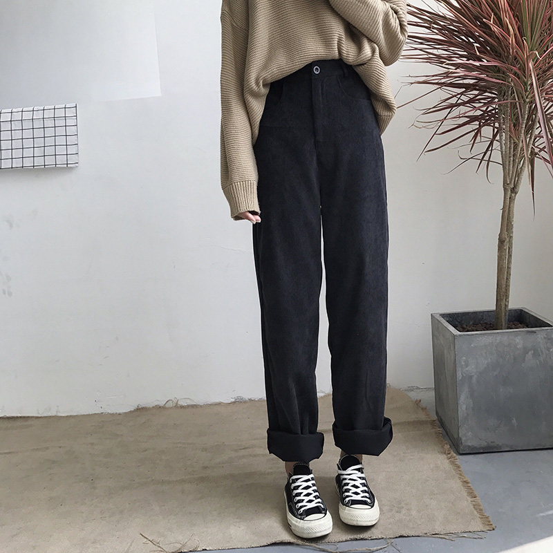 Pants Women Loose Solid Corduroy High Waist Pockets Solid Womens Long Trousers Korean Style Leisure All