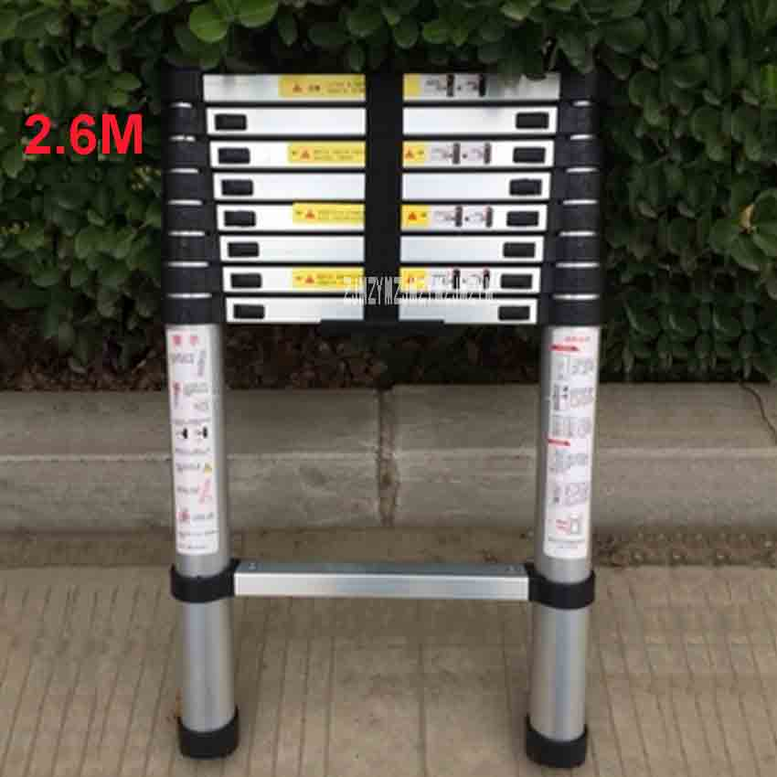 New 2.6 Meters DLT-A Portable Safety Extension Ladder Thick Aluminum Alloy Single-sided Straight Ladder Household 9 Steps LadderNew 2.6 Meters DLT-A Portable Safety Extension Ladder Thick Aluminum Alloy Single-sided Straight Ladder Household 9 Steps Ladder