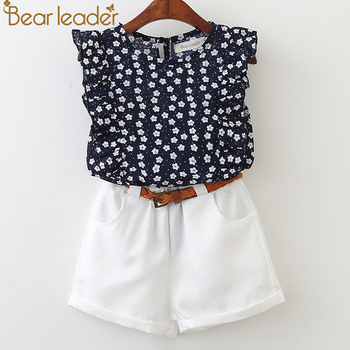 Bear Leader 2017 New Casual Children Sets Flowers Blue T-shirt+ White Pants With Pu Belt Girls Clothing Sets Kids Summer Suit conjuntos casuales para niñas