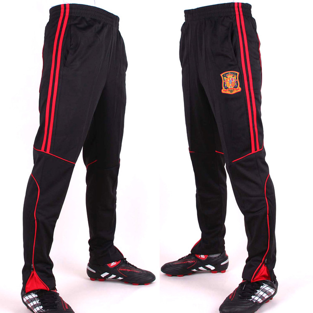 Adult Football Practice Long Black Pants Youth Integrated Football Pants Spain team emblem size L- XXXL country teams P56001