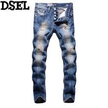 2017 Новых Dsel Мода Дизайнерские Джинсы Мужчины Прямо Синий Цвет Печатной Мужские Джинсы Рваные Джинсы для Мужчин! 964-2C