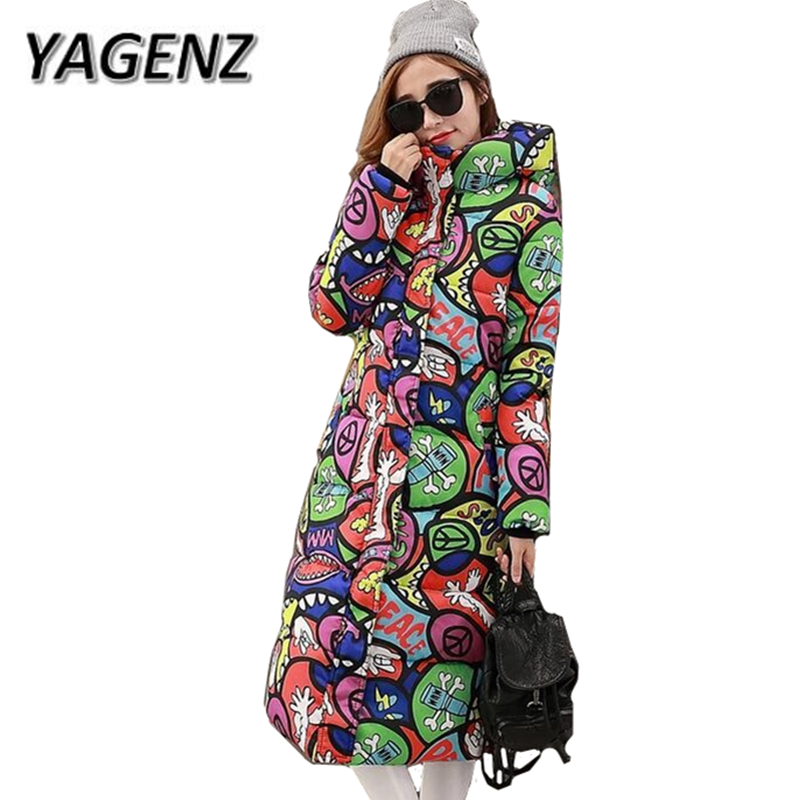 YAGENZ Large size Parkas Women Hooded Jacket Loose Thick Down Cotton Long Coat 2017 Print Winter Warm Cotton Jacket Female 4XL winter new women loose coat fashion cute parkas hooded jacket overcoat long section casual down cotton large size coat cm1560
