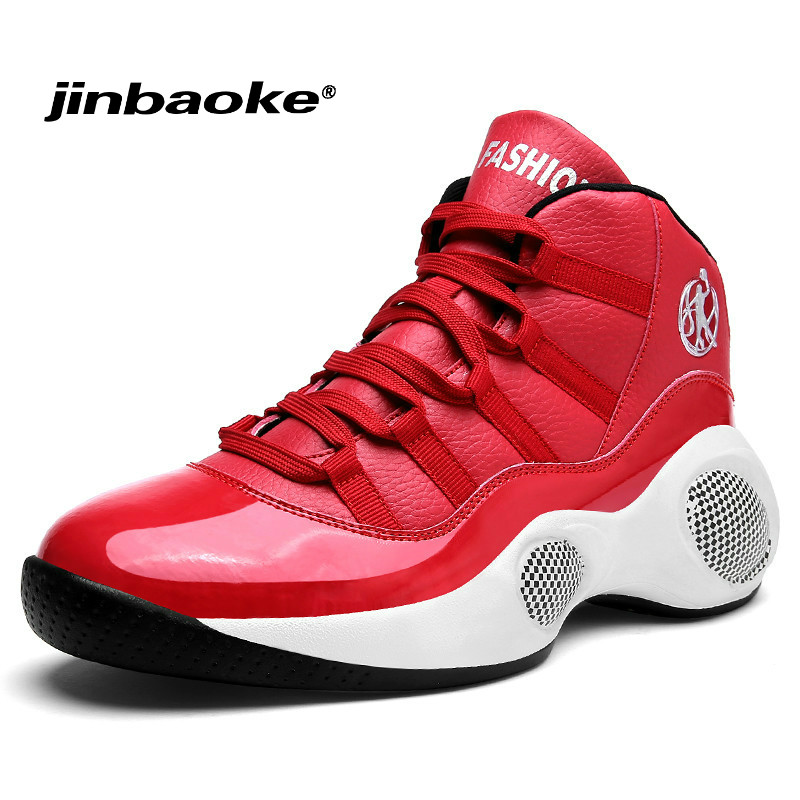 Men's Basketball Shoes Luxury Brand Air Damping Men Red/Black Sports Sneakers High Top Breathable Trainers Leather Men Outdoor цена