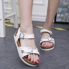 Europe 2019 Summer New Women Sandals Flats Beach Fashion Casual Shoes Woman Buckle Strap Low-cut  Low (1cm-3cm) Size 43