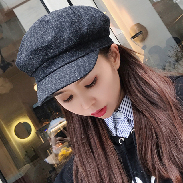 69488ae25e9d8 HT1901 New Women Hats for Autumn Winter Solid Plain Female Berets Retro  Artist Painter Newsboy Caps Wool Blend Women Beret Hats