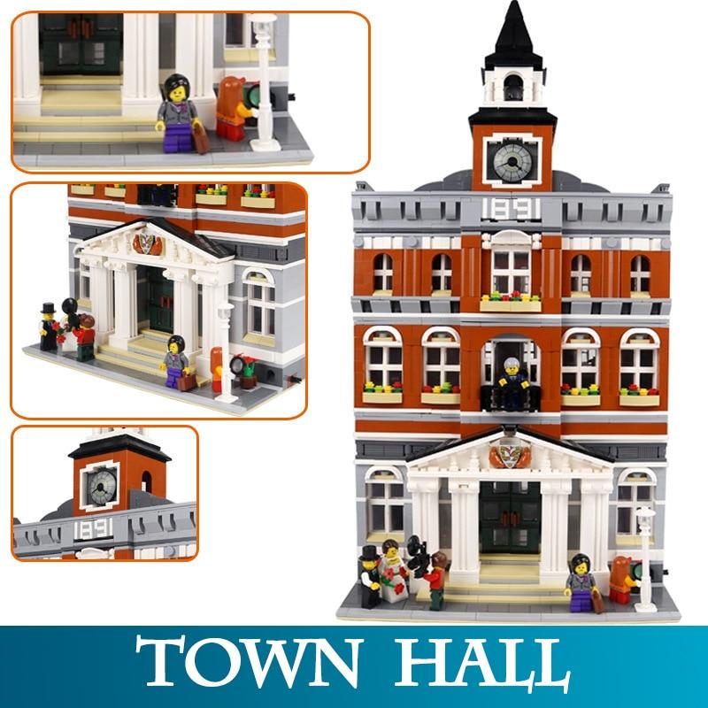 City Mini Street 15003 2859pcs Bricks Town Hall Model Building Blocks Assembly Bricks Toys For Kids Compatible LegoINGlys 10224