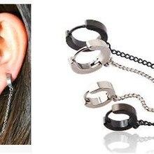 Серьги-кольца, длинная цепочка, серебряные, черные, Золотые серьги, хрящи, пирсинг, ювелирные изделия для женщин и девочек,, подарок на день матери