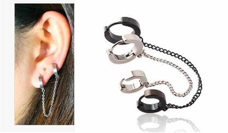 9479d5d50c9a Pendientes de aro cadena larga plata negro oro pendiente cartílago piercing  joyería para mujeres chicas envío