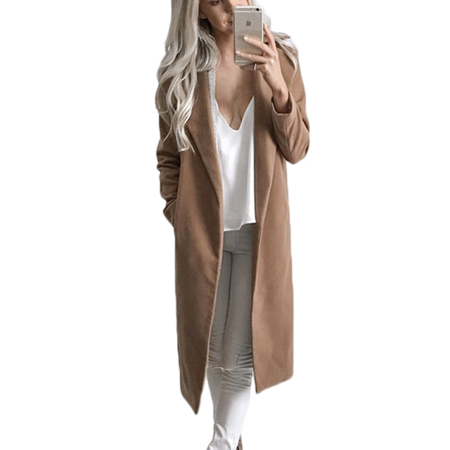 Winter Autumn Wool Blend Overcoat women fashion long sleeve Pockets long trench coat  2016 Casual open stitch cloak outwear