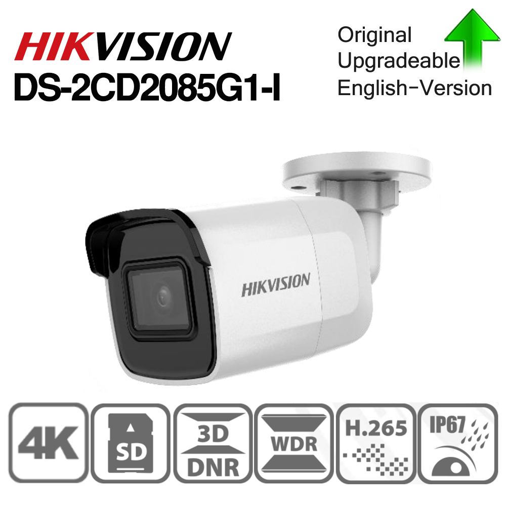 Hikvision Original DS-2CD2085G1-I 8 MP IR Fixed Bullet Network Camera Darkfighter IR 30M,  Up To 128 GB IP67, IK10 Poe IP Camera