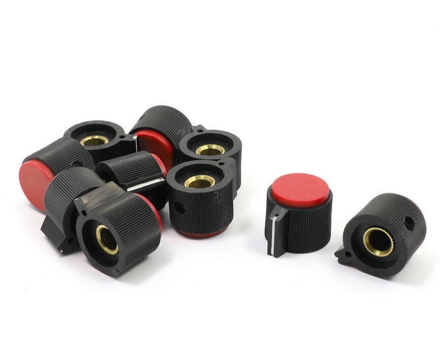 10ชิ้นปรับเปิด6มิลลิเมตรเพลาDiaมิเตอร์แบบหมุนลูกบิดสีแดง