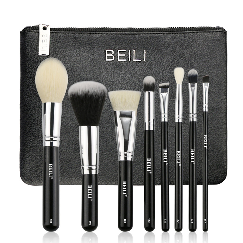 BEILI 8 pieces Black goat hair Synthetic Powder Foundation blusher eye shadow Concealer Basic Makeup brushes set Cosmetic bag cosmetic makeup 24 color eye shadow 3 color grooming powder 3 color blusher palette black
