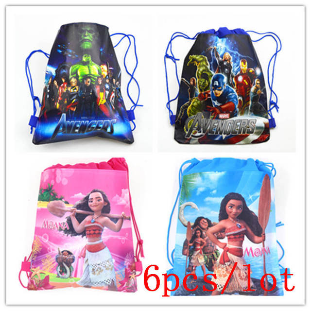 6pcs lot avengers theme string school bags girl wedding moana candy