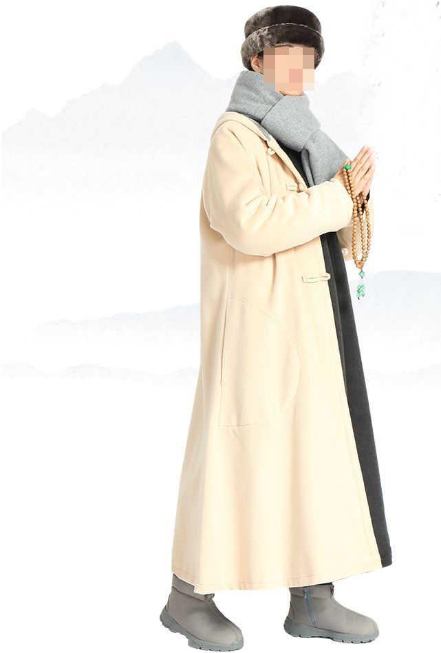 5 видов цветов унисекс Зимние теплые дзен монах костюмы медитация плащ Шаолинь аббат пальто буддийская монахиня накидка боевых искусств халат синий/серый/ коричневый