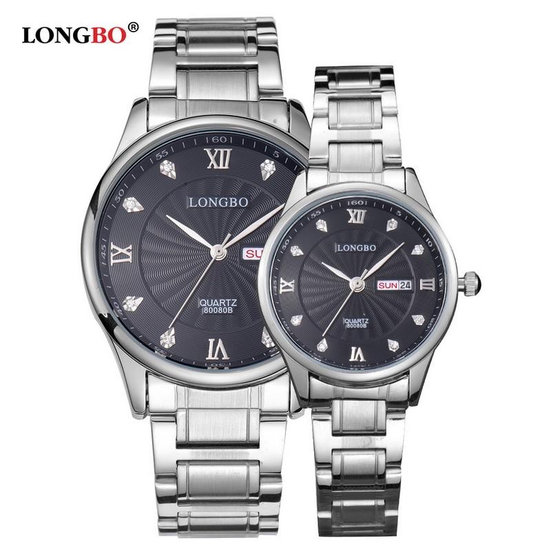 LONGBO Luxury Lovers Couple Watches Men Date Day Waterproof Gold Stainless Steel Quartz Wristwatch Montre Homme 80080B