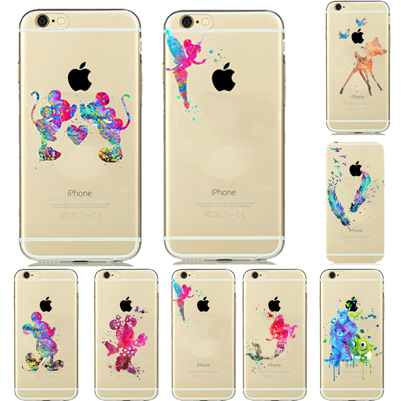 8 Designs Colorful Watercolor Art Transparent Cover Soft