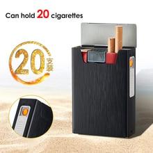 Cigarette Case Box Lighter for Smoking Aluminum Alloy USB Re