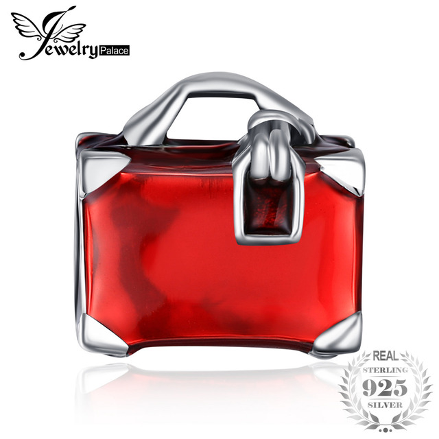 rojo cuentas Ley de mujeres de para JewelryPalace como esmalte abalorios bolso Plata 925 de mano wtzxqaX